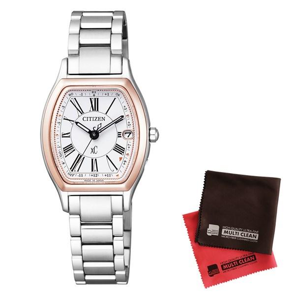 【セット】【国内正規品】[シチズン]CITIZEN 腕時計 ES9355-58A [クロスシー]xC レディース エコ・ドライブ電波時計 TITANIA LINE HAPPY FLIGHT シリーズ&クロス2枚セット