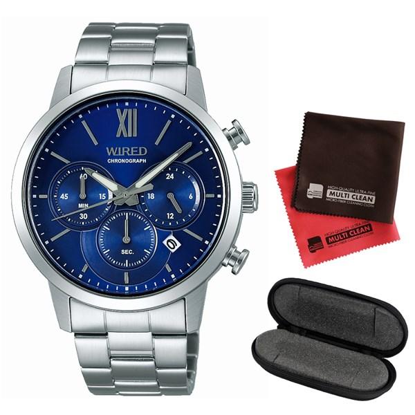 【セット】【国内正規品】[セイコー]SEIKO 腕時計 AGAT413 [ワイアード]WIRED メンズ&腕時計ケース1本用&クロス2枚セット【ステンレスバンド クオーツ 多針アナログ表示】
