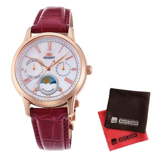 【セット】【国内正規品】[オリエント]ORIENT 腕時計 RN-KA0001A [クラシック]CLASSIC SUN&MOON表示 レディース&クロス2枚セット【牛革(カーフ)バンド クオーツ】