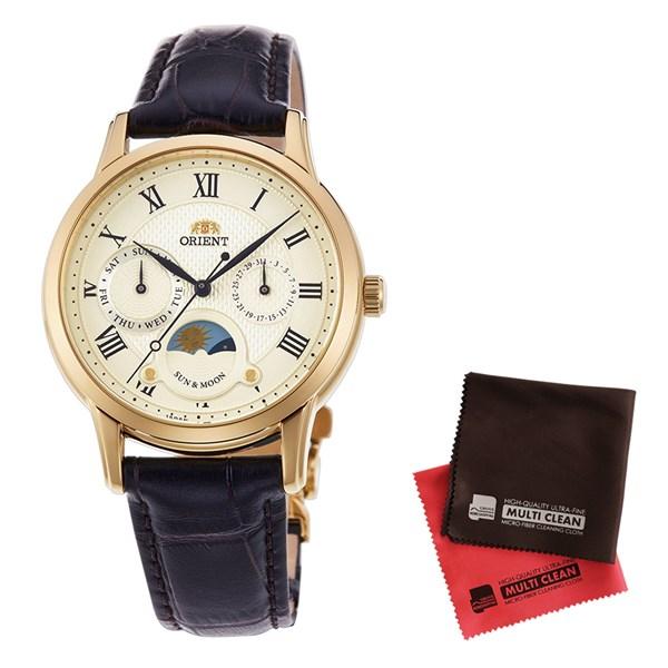【セット】【国内正規品】[オリエント]ORIENT 腕時計 RN-KA0002S [クラシック]CLASSIC SUN&MOON表示 レディース&クロス2枚セット【牛革(カーフ)バンド クオーツ】