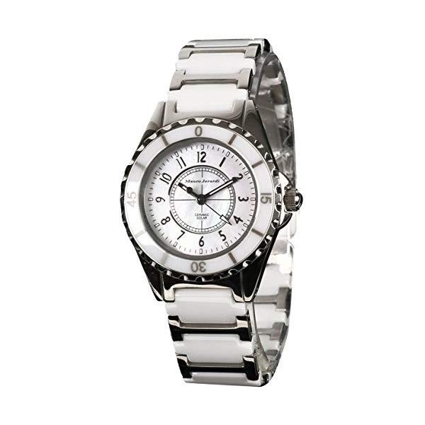 【正規輸入品】(マウロジェラルディ)Mauro Jerardi 腕時計 MJ042-2 レディース(セラミックバンド ソーラー アナログ)