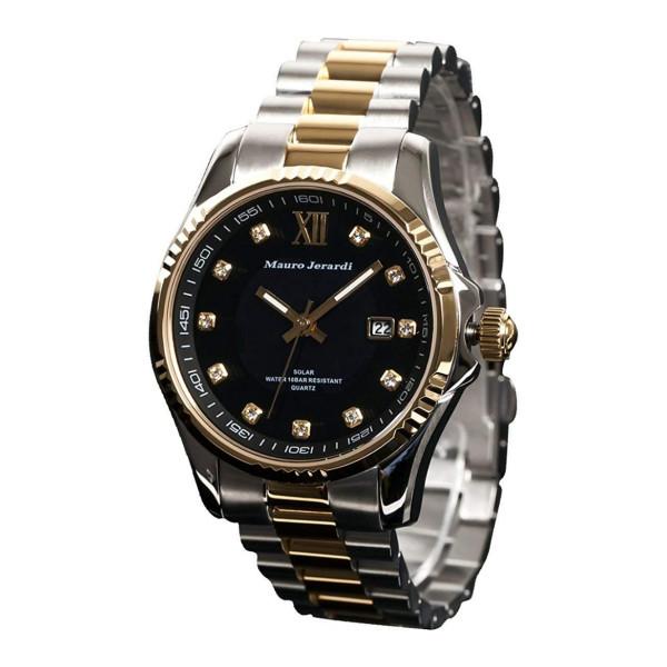 【正規輸入品】(マウロジェラルディ)Mauro Jerardi 腕時計 MJ037-2 メンズ(ステンレスバンド ソーラー アナログ)
