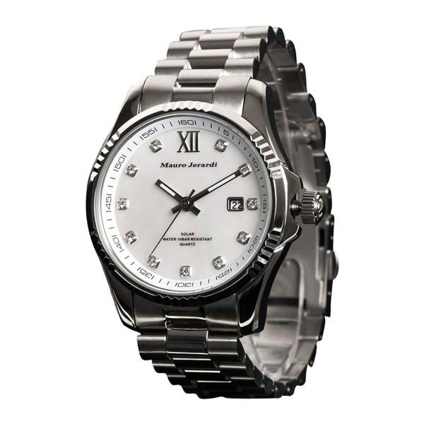 【正規輸入品】(マウロジェラルディ)Mauro Jerardi 腕時計 MJ037-3 メンズ(ステンレスバンド ソーラー アナログ)