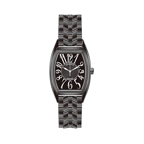 【正規輸入品】(グランドール)GRANDEUR 腕時計 JGR001B1 メンズ 日本製 トノー型 ブラックIP加工(ステンレスバンド クオーツ アナログ)