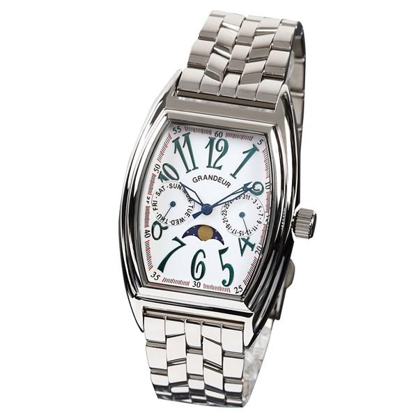【正規輸入品】(グランドール)GRANDEUR 腕時計 JGR002W1 メンズ 日本製 トノー型 ムーンフェイズ(ステンレスバンド クオーツ 多針アナログ)