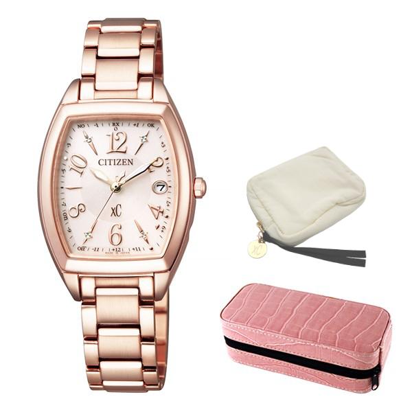 (セット)(国内正規品)(シチズン)CITIZEN 腕時計 ES9392-51W (クロスシー)xC レディース エコドライブ電波時計 ハッピーフライト&腕時計ケース2本用 ピンク(ステンレスバンド 電波ソーラー アナログ)