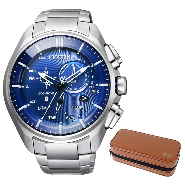 【セット】【国内正規品】(シチズン)CITIZEN 腕時計 BZ1040-50L エコドライブ Bluetooth メンズ スマートウォッチ クロノグラフ&腕時計ケース2本用 ブラウン(ステンレスバンド ソーラー 多針アナログ)