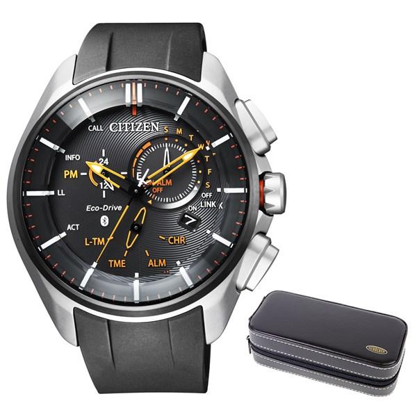 【時計ケースセット】【国内正規品】(シチズン)CITIZEN 腕時計 BZ1041-06E エコドライブ Bluetooth メンズ スマートウォッチ クロノグラフ(ウレタンバンド ソーラー 多針アナログ)