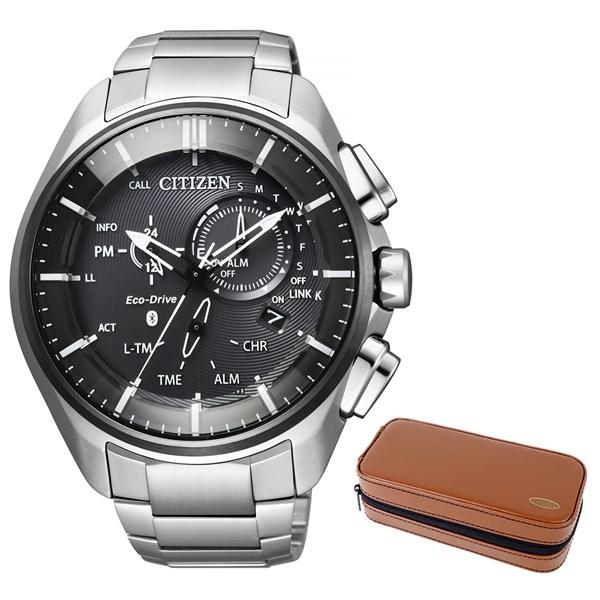 【セット】【国内正規品】(シチズン)CITIZEN 腕時計 BZ1041-57E エコドライブ Bluetooth メンズ スマートウォッチ クロノグラフ&腕時計ケース2本用 ブラウン(ステンレスバンド ソーラー 多針アナログ)