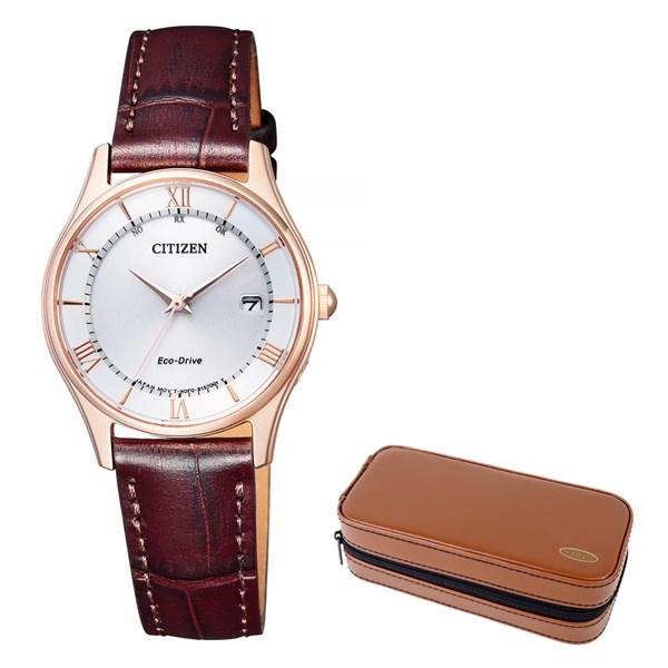 (セット)(国内正規品)(シチズン)CITIZEN 腕時計 ES0002-06A シチズンコレクション レディース エコドライブ電波時計 薄型&腕時計ケース2本用 ブラウン(牛革バンド 電波ソーラー アナログ)