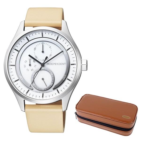 (セット)(国内正規品)(シチズン)CITIZEN 腕時計 KB1-317-10 (インディペンデント)INDEPENDENT メンズ INNOVATIVE line&腕時計ケース2本用 ブラウン(牛革バンド ソーラー 多針アナログ)