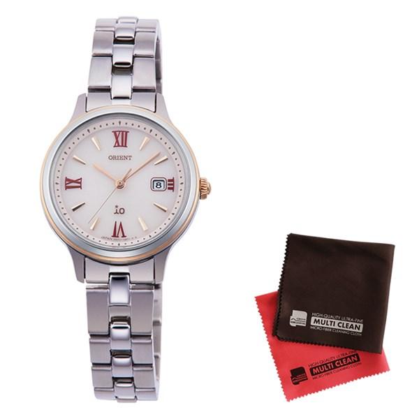 【クロスセット】【国内正規品】(オリエント)ORIENT 腕時計 RN-WG0006P io(イオ) ナチュラル&プレーン レディース&クロス2枚セット(ステンレスバンド ソーラー アナログ)
