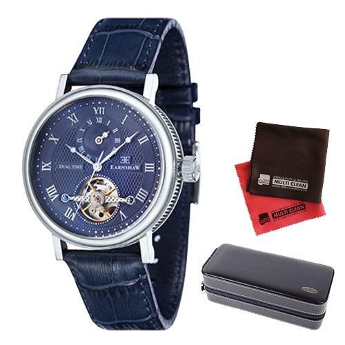 【セット】【正規輸入品】(アーンショウ)EARNSHAW 腕時計 ES-8047-06 BEAUFORT メンズ&時計アクセサリーケース ブラック・クロス2枚(レザーバンド 自動巻き 多針アナログ)