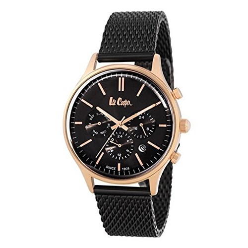 【正規輸入品】(リークーパー)Lee Cooper 腕時計 LC6294.450 ブラックステンレススチールメッシュ メンズ(ステンレスバンド クオーツ 多針アナログ)