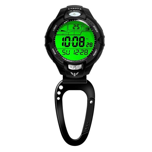 (正規品)DAKOTA(ダコタ) 7544-8 時計 クリップウォッチ 紫外線センサー/温度計付クリップ ブラック アウトドア