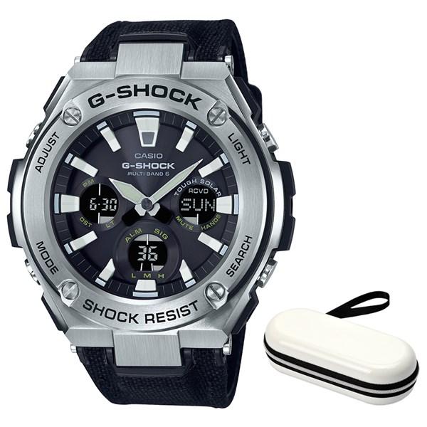 (ケースセット)(国内正規品)(カシオ)CASIO 腕時計 GST-W130C-1AJF (ジーショック)G-SHOCK メンズ G-STEEL&腕時計ケース1本用 ホワイト(合皮/クロスバンド 電波ソーラー アナデジ)