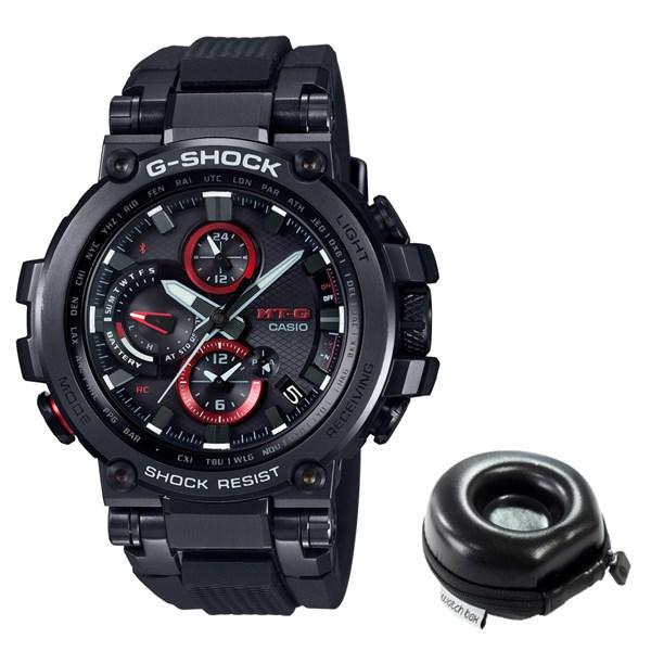(ケースセット)(国内正規品)(カシオ)CASIO 腕時計 MTG-B1000B-1AJF (ジーショック)G-SHOCK メンズ MT-G&腕時計ケース1本用 丸型(樹脂バンド 電波ソーラー 多針アナログ)