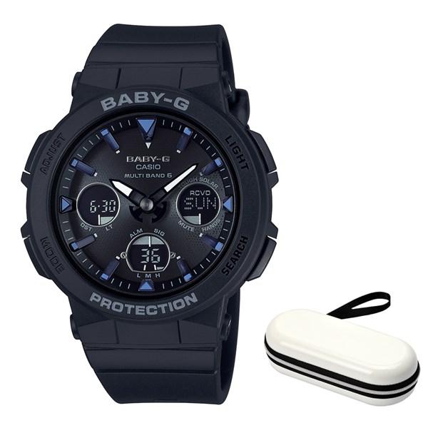 (ケースセット)(国内正規品)(カシオ)CASIO 腕時計 BGA-2500-1AJF (ベビーG)BABY-G レディース Beach Traveler Series&腕時計ケース1本用 ホワイト(樹脂バンド 電波ソーラー アナデジ)