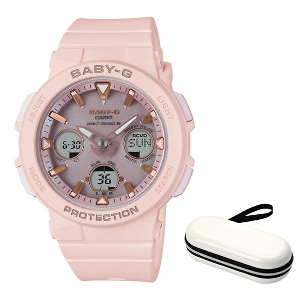 (ケースセット)(国内正規品)(カシオ)CASIO 腕時計 BGA-2500-4AJF (ベビーG)BABY-G レディース Beach Traveler Series&腕時計ケース1本用 ホワイト(樹脂バンド 電波ソーラー アナデジ)