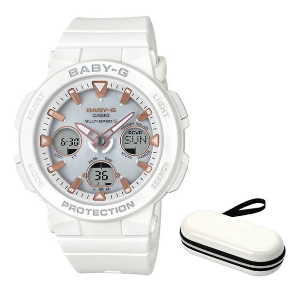 (ケースセット)(国内正規品)(カシオ)CASIO 腕時計 BGA-2500-7AJF (ベビーG)BABY-G レディース Beach Traveler Series&腕時計ケース1本用 ホワイト(樹脂バンド 電波ソーラー アナデジ)