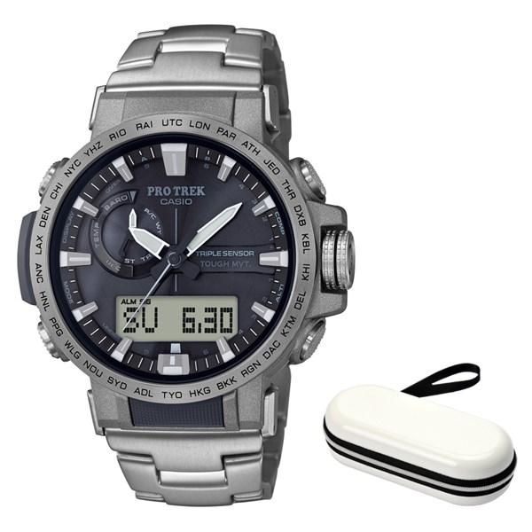 (時計ケースセット)(国内正規品)(カシオ)CASIO 腕時計 PRW-60T-7AJF PROTREK(プロトレック) メンズ Climber Line(チタンバンド 電波ソーラー アナデジ)
