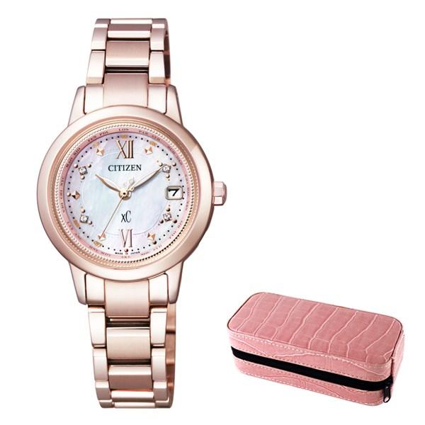(時計ケースセット)(国内正規品)(シチズン)CITIZEN 腕時計 EC1147-52W (クロスシー)xC レディース ティタニアライン ハッピーフライト マニキュア 限定モデル&腕時計ケース2本用(チタンバンド 電波ソーラー アナログ)