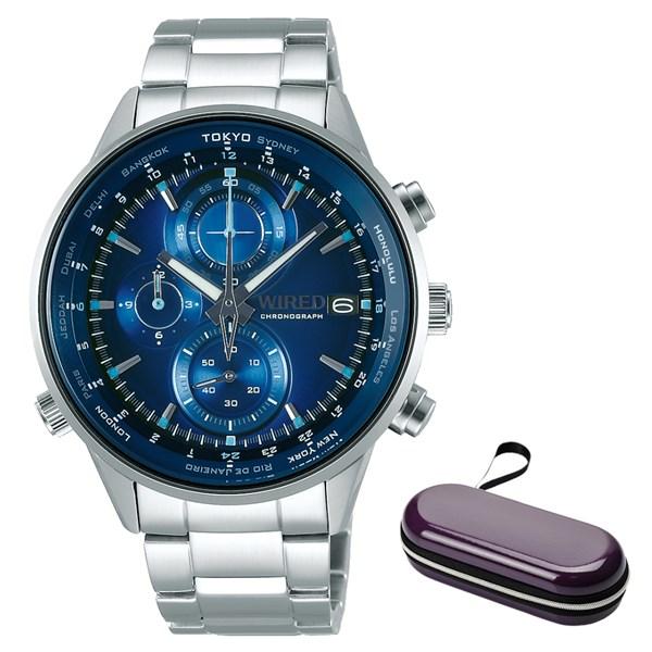 (ケースセット)(国内正規品)(セイコー)SEIKO 腕時計 AGAW449 (ワイアード)WIRED メンズ クロノグラフ&腕時計ケース1本用 パープル(ステンレスバンド クオーツ 多針アナログ)