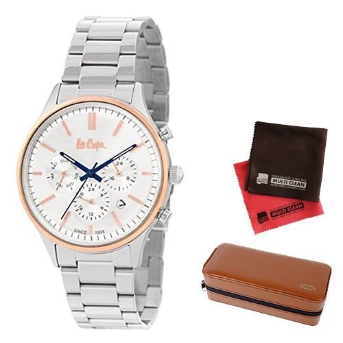 【セット】【正規輸入品】(リークーパー)Lee Cooper 腕時計 LC6295.530 ステンレススチール メンズ&時計アクセサリーケース ブラウン・クロス2枚(ステンレスバンド クオーツ 多針アナログ)