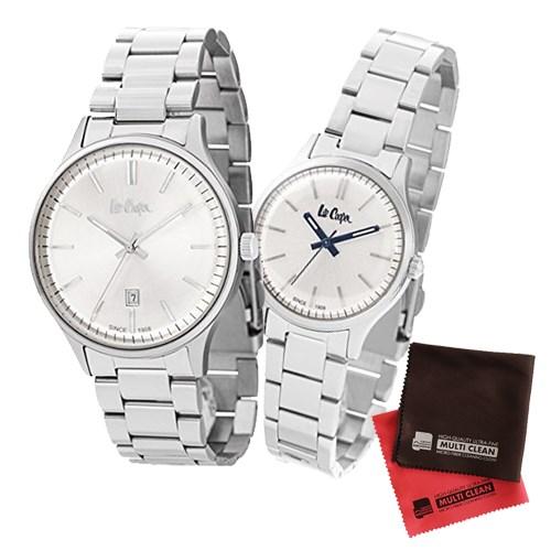 【ペア箱入りセット】【正規輸入品】(リークーパー)Lee Cooper 腕時計 LC6292.330 メンズ・LC6300.330 レディース&クロス2枚(ステンレスバンド クオーツ アナログ ペアウォッチ)