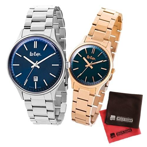 【ペア箱入りセット】【正規輸入品】(リークーパー)Lee Cooper 腕時計 LC6292.390 メンズ・LC6300.490 レディース&クロス2枚(ステンレスバンド クオーツ アナログ ペアウォッチ)