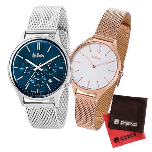 【ペア箱入りセット】【正規輸入品】(リークーパー)Lee Cooper 腕時計 LC6294.390 メンズ・LC6339.430 レディース&クロス2枚(ステンレスバンド クオーツ アナログ ペアウォッチ)