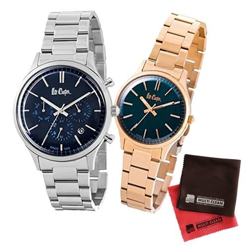 【ペア箱入りセット】【正規輸入品】(リークーパー)Lee Cooper 腕時計 LC6295.390 メンズ・LC6300.490 レディース&クロス2枚(ステンレスバンド クオーツ アナログ ペアウォッチ)