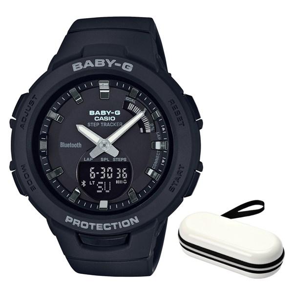 (時計ケースセット)(国内正規品)(カシオ)CASIO 腕時計 BSA-B100-1AJF (ベビーG)BABY-G レディース G-SQUAD Bluetooth搭載(樹脂バンド クオーツ アナデジ)