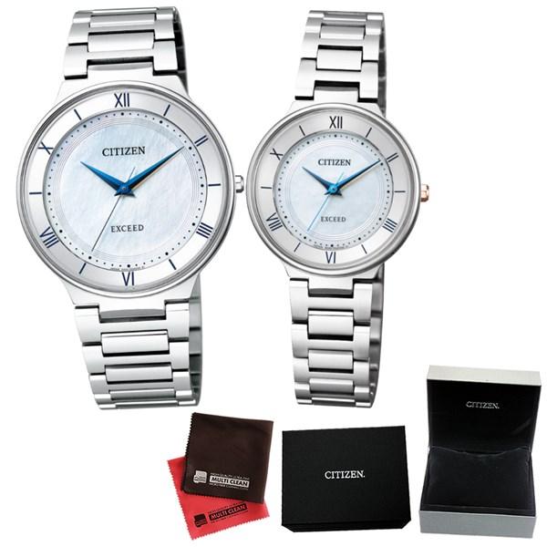 (ペア箱入り・クロスセット)(国内正規品)(シチズン)CITIZEN 腕時計 AR0080-58A メンズ・EX2090-57A レディース (エクシード)EXCEED エコドライブ ペアモデル(チタンバンド ソーラー アナログ ペアウォッチ)