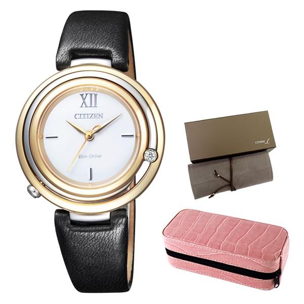 (時計ケースセット)(国内正規品)(シチズン)CITIZEN 腕時計 EM0656-23A L(エル) レディース アークリーシリーズ(エゾ鹿革バンド ソーラー アナログ)