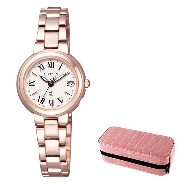 (時計ケースセット)(国内正規品)(シチズン)CITIZEN 腕時計 ES9005-50W (クロスシー)xC レディース ステンレススチールライン ハッピーフライト サクラピンク(ステンレスバンド 電波ソーラー アナログ)