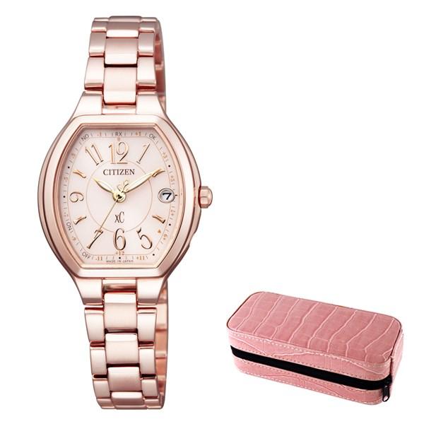 (時計ケースセット)(国内正規品)(シチズン)CITIZEN 腕時計 ES9365-54W (クロスシー)xC レディース ステンレススチールライン ハッピーフライト サクラピンク(ステンレスバンド 電波ソーラー アナログ)