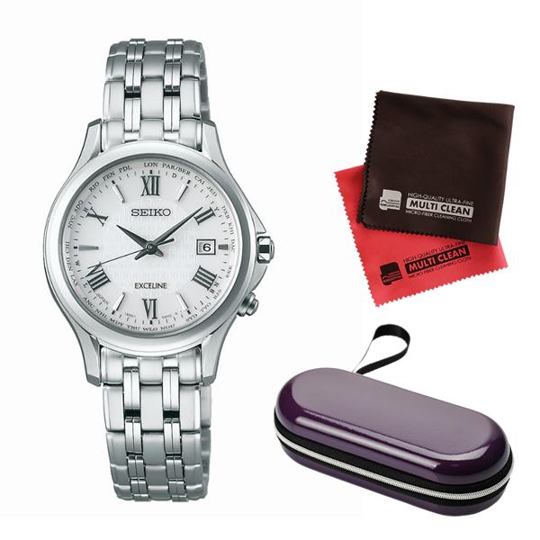 (時計ケース・クロスセット)(国内正規品)(セイコー)SEIKO 腕時計 SWCW161 (ドルチェ&エクセリーヌ)DOLCE & EXCELINE レディース(チタンバンド 電波ソーラー アナログ)