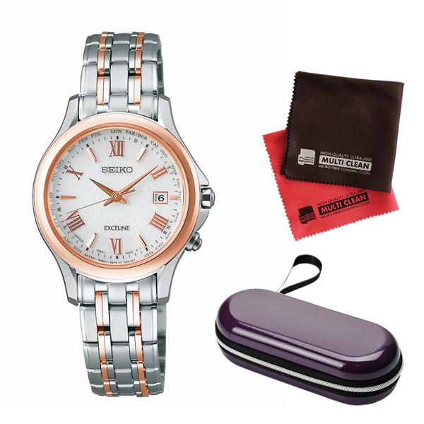 (時計ケース・クロスセット)(国内正規品)(セイコー)SEIKO 腕時計 SWCW162 (ドルチェ&エクセリーヌ)DOLCE & EXCELINE レディース(チタンバンド 電波ソーラー アナログ)