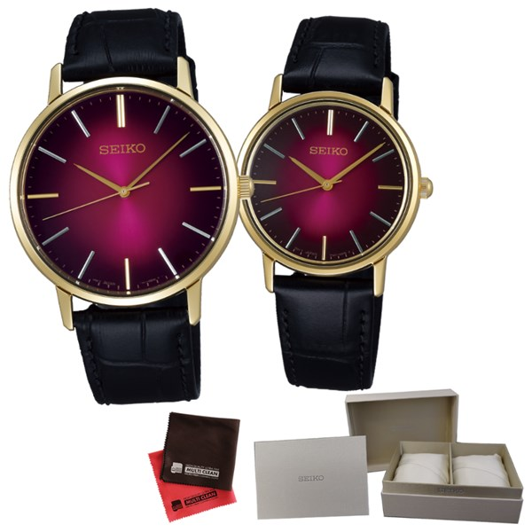 (ペア箱入り・クロスセット)(国内正規品)(セイコー)SEIKO 腕時計 SCXP128・SCXP138 セイコーセレクション ペア ゴールドフェザー 流通限定モデル(牛革バンド クオーツ アナログ ペアウォッチ)