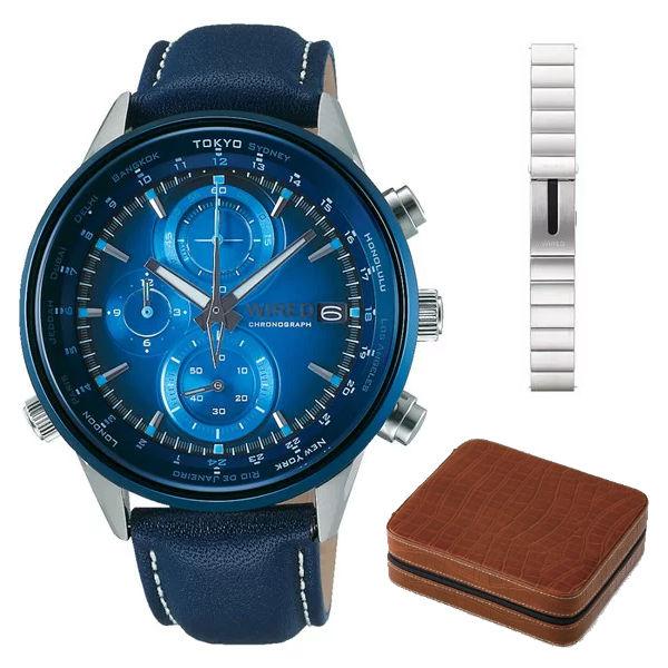 【4本用時計ケース付セット】(国内正規品)(セイコー)SEIKO 腕時計 AGAW713 (ワイアード)WIRED メンズ wena コラボレーション 限定(牛革バンド クオーツ 多針アナログ)