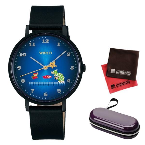 (時計ケース・クロスセット)(国内正規品)(セイコー)SEIKO 腕時計 AGAK706 (ワイアード)WIRED メンズ レディース スーパーマリオブラザーズ コラボ 限定モデル(牛革バンド クオーツ アナログ)