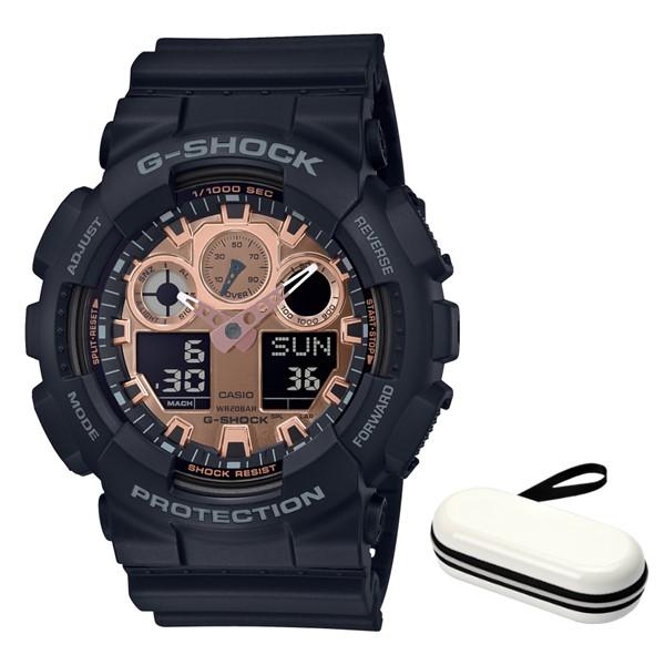 (時計ケースセット)(国内正規品)(カシオ)CASIO 腕時計 GA-100MMC-1AJF (ジーショック)G-SHOCK メンズ BLACK & ROSE GOLD(樹脂バンド クオーツ アナデジ)