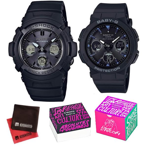 (限定ペア箱入り・クロスセット)(国内正規品)(カシオ)CASIO ペアソーラー電波腕時計 AWG-M100SBB-1AJF メンズ・BGA-2500-1AJF レディース G-SHOCK&BABY-G(樹脂バンド 電波ソーラー アナデジ ペアウォッチ)