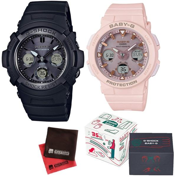 (限定ペア箱入り・クロスセット)(国内正規品)(カシオ)CASIO ペアソーラー電波腕時計 AWG-M100SBB-1AJF メンズ・BGA-2500-4AJF レディース G-SHOCK&BABY-G(樹脂バンド 電波ソーラー アナデジ ペアウォッチ)