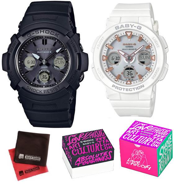 (限定ペア箱入り・クロスセット)(国内正規品)(カシオ)CASIO ペアソーラー電波腕時計 AWG-M100SBB-1AJF メンズ・BGA-2500-7AJF レディース G-SHOCK&BABY-G(樹脂バンド 電波ソーラー アナデジ ペアウォッチ)