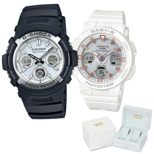 (ペア箱入り・クロスセット)(国内正規品)(カシオ)CASIO ペアソーラー電波腕時計 AWG-M100S-7AJF メンズ・BGA-2500-7AJF レディース G-SHOCK&BABY-G(樹脂バンド 電波ソーラー アナデジ ペアウォッチ)