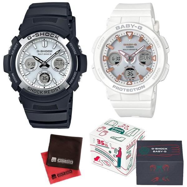 (限定ペア箱入り・クロスセット)(国内正規品)(カシオ)CASIO ペアソーラー電波腕時計 AWG-M100S-7AJF メンズ・BGA-2500-7AJF レディース G-SHOCK&BABY-G(樹脂バンド 電波ソーラー アナデジ ペアウォッチ)
