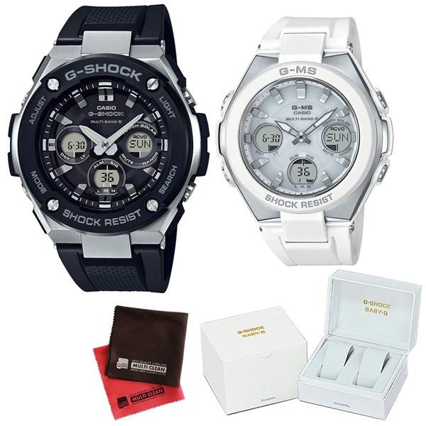 (ペア箱入り・クロスセット)(国内正規品)(カシオ)CASIO ペアソーラー電波腕時計 GST-W300-1AJF メンズ・MSG-W100-7AJF レディース G-SHOCK&BABY-G G-MS(樹脂バンド 電波ソーラー アナデジ ペアウォッチ)