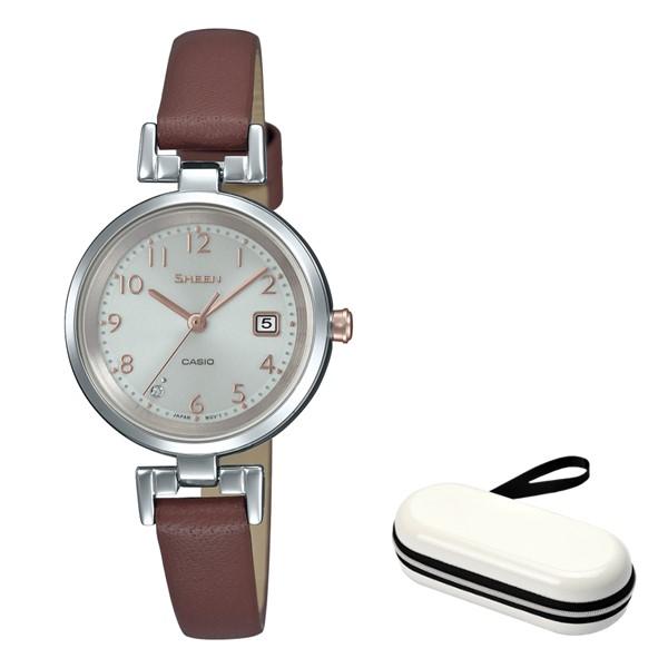 (時計ケースセット)(国内正規品)(カシオ)CASIO 腕時計 SHS-D200L-4AJF SHEEN(シーン) レディース(牛革バンド ソーラー アナログ)
